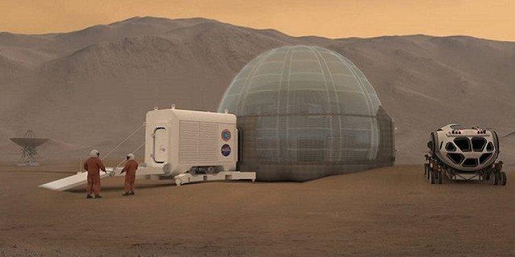 Hình ảnh minh họa ý tưởng xây nhà băng trên sao Hỏa của NASA. (Ảnh: NASA Langley)
